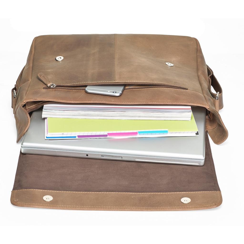 Packenger Messenger Bag »Vethorn, hellbraun«, mit 15-Zoll Laptopfach