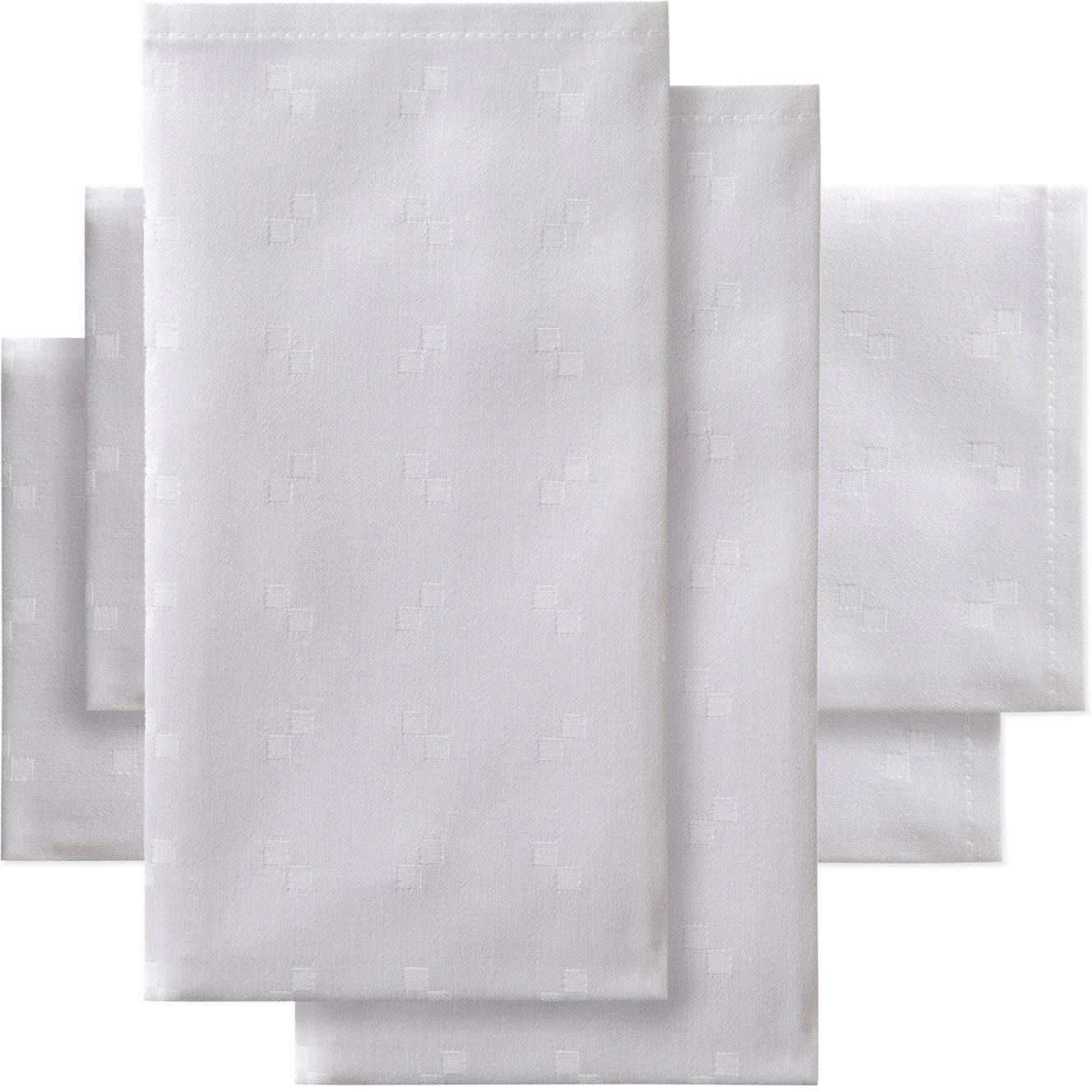 DDDDD Stoffserviette Quadrat, (Set, 4 St.), Damast, 50x50 cm, mit kleinen dezenten Quadraten weiß Stoffservietten Tischwäsche