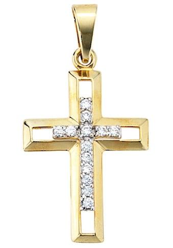 JOBO Kreuzanhänger, Kreuz 333 Gold mit Zirkonia kaufen