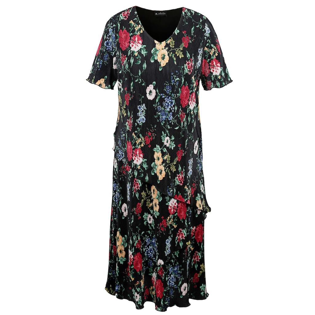 m. collection Plissee-Kleid mit frischem Blütendruck-Muster rundum