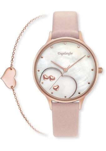 Engelsrufer Quarzuhr »Happy Hearts, ERWO - HEART - 01« (Set, 2 tlg., mit Schmuck - Armband roségold, 925er - Sterlingsilber, Länge 17+2 cm) kaufen