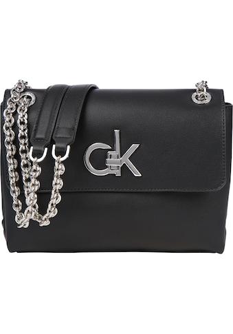 Calvin Klein Umhängetasche »FLAP XBODY MD«, mit silberfarbenen Kettedetails kaufen