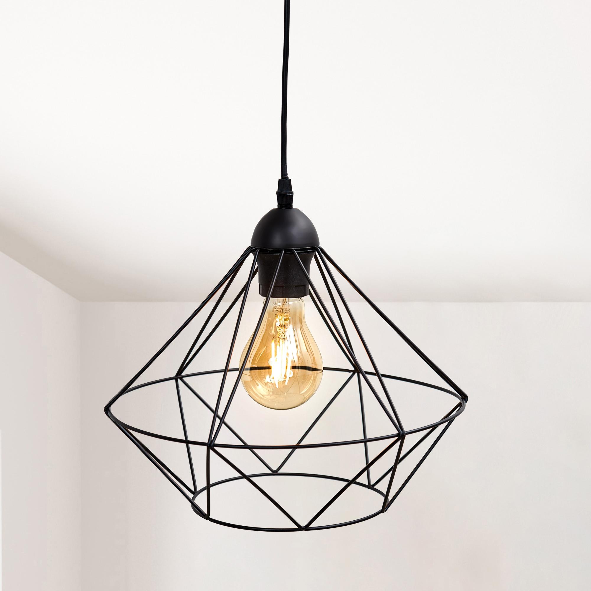 B.K.Licht Pendelleuchte, E27, LED Hängeleuchte Hängelampe Draht Vintage Retro exkl. E27 Metall schwarz