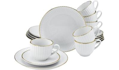 my home Kaffeeservice »Leona«, (Set, 18 tlg.), mit handgemaltem, breiten Goldband kaufen