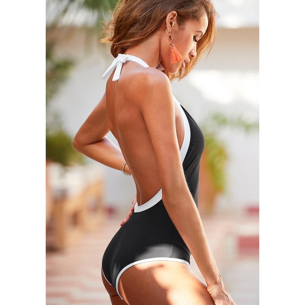 LASCANA Badeanzug, mit kontrastfarbener Einfassung