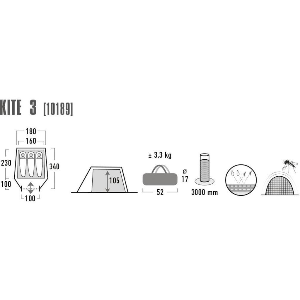 High Peak Tunnelzelt »Kite 3«, 3 Personen, (mit Transporttasche)