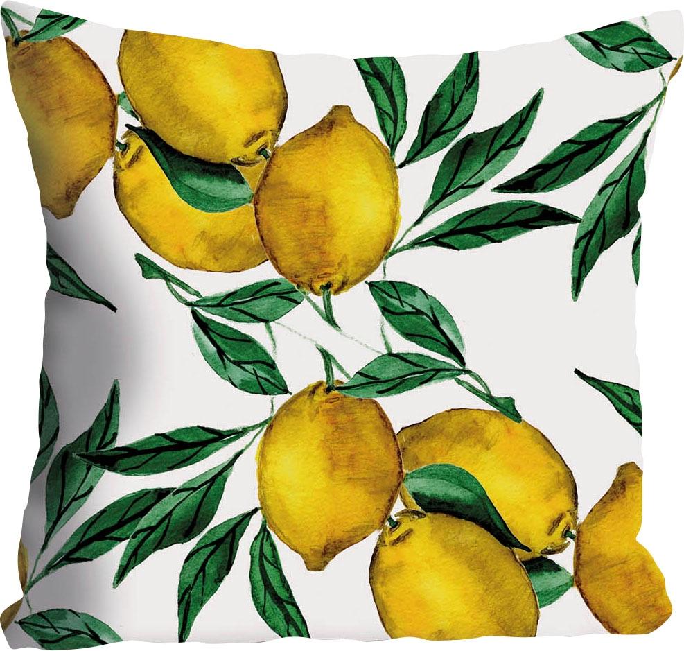 queence Kissenhülle Mike, (1 St.), mit Zitronen gelb Kissenbezüge gemustert Kissen