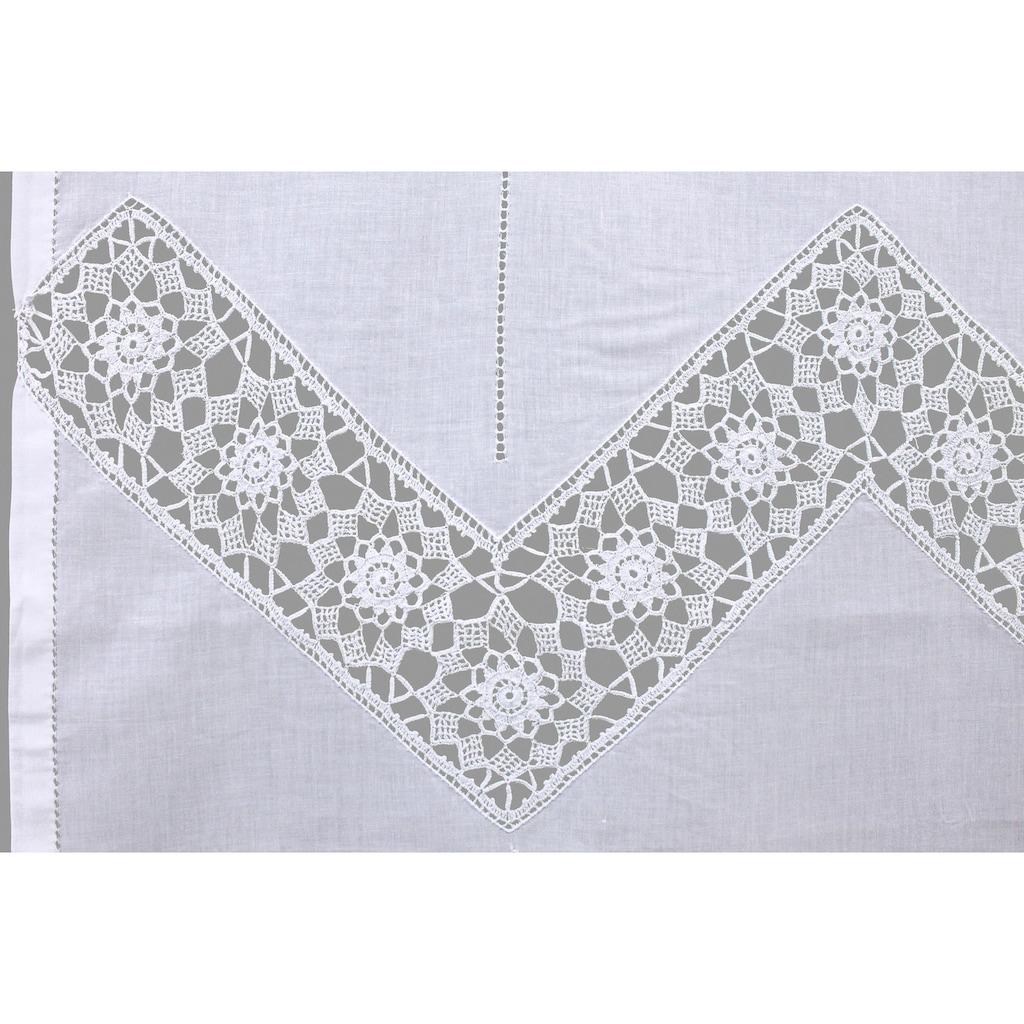 HOSSNER - ART OF HOME DECO Gardine »Dufour«, handgehäkelte Spitze, weiß, Baumwolle