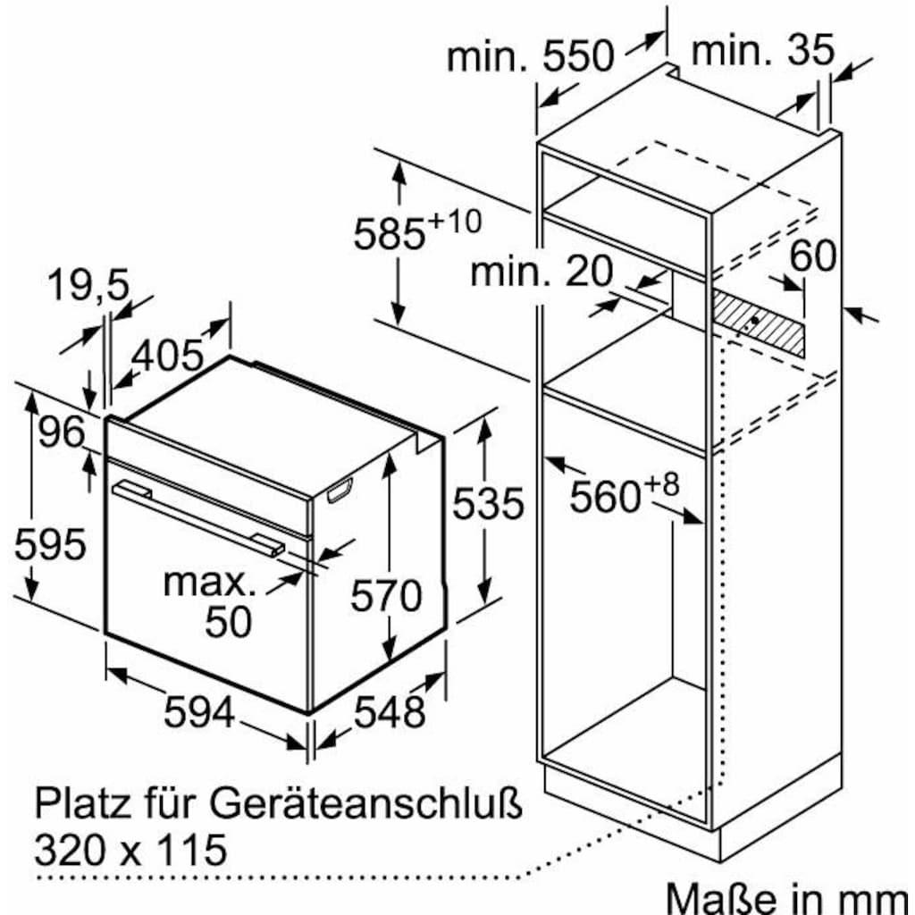 Constructa Pyrolyse Backofen »CF4M77060«, CF4M77060, mit Teleskopauszug nachrüstbar, Pyrolyse-Selbstreinigung