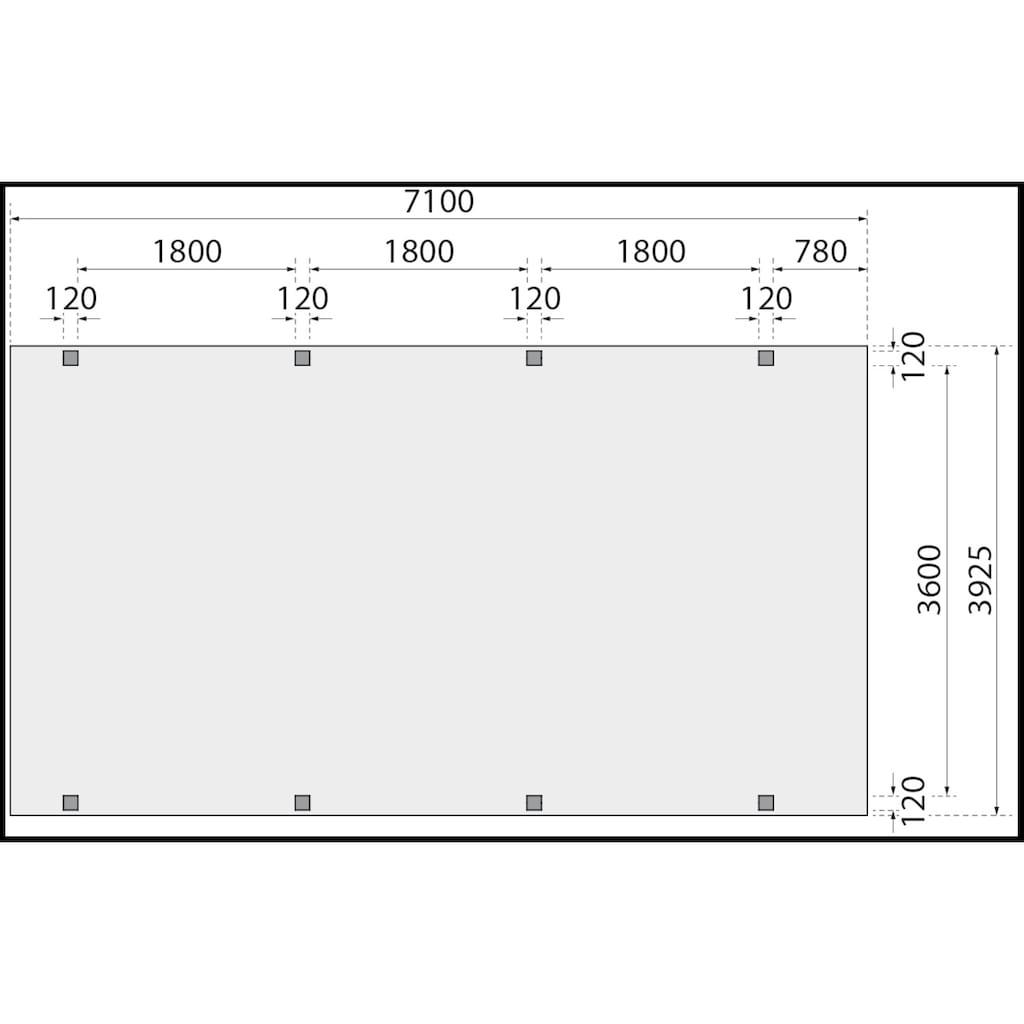 Karibu Einzelcarport »Caravan CLASSIC 2«, Fichtenholz, 360 cm, braun, BxT: 394x712 cm