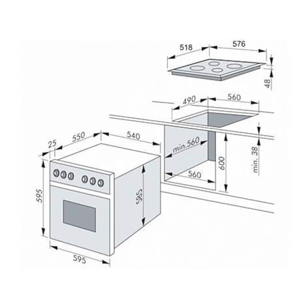 Amica Elektro-Herd-Set »EHC 12557«, EHC 12557 W, RapidWarmUp-Funktion