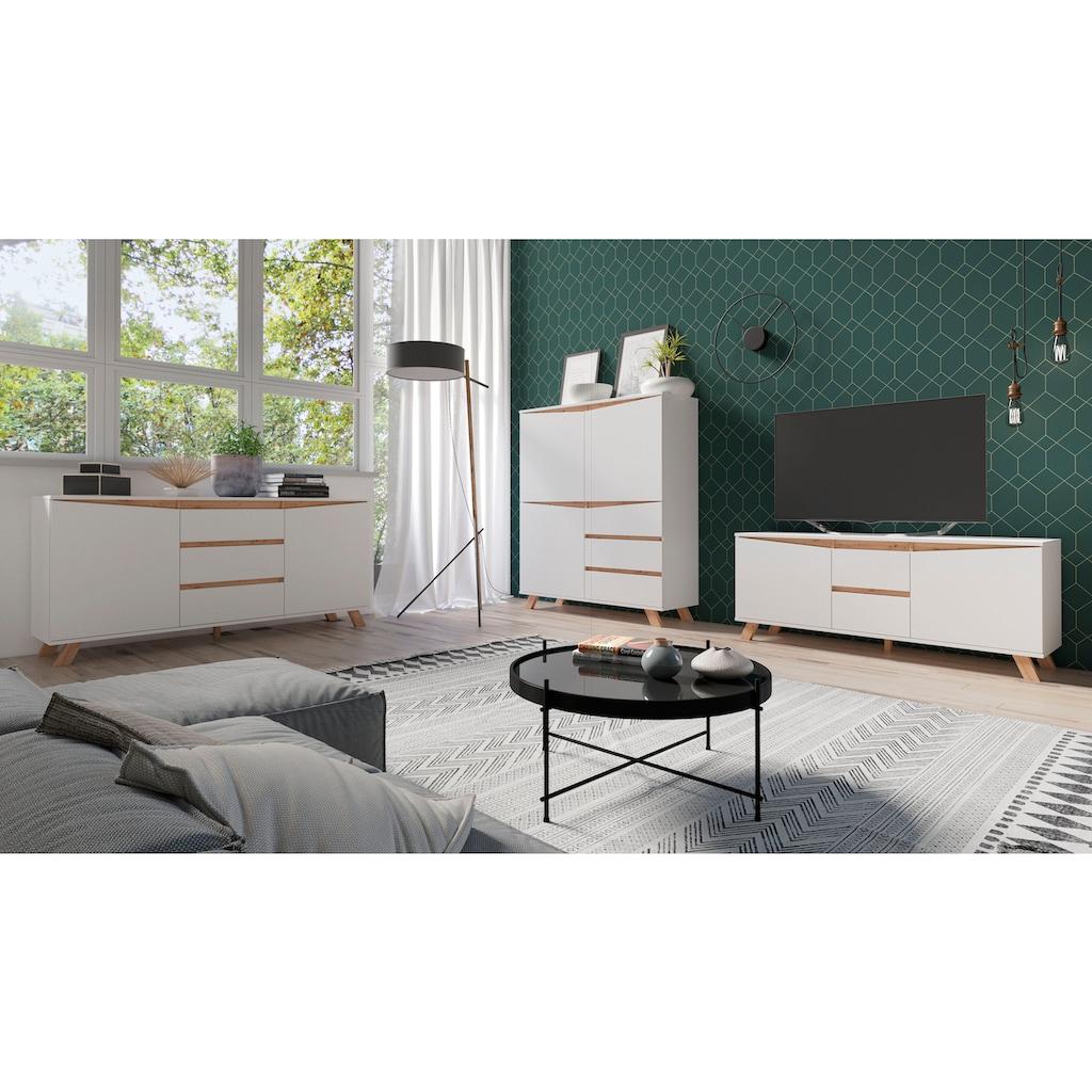 Homexperts Highboard »Vicky«, Breite 120 cm, Höhe 142 cm, in matt weiß