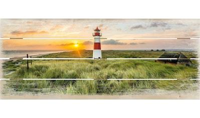 Wall-Art Holzbild »Leuchtturm auf Sylt« kaufen