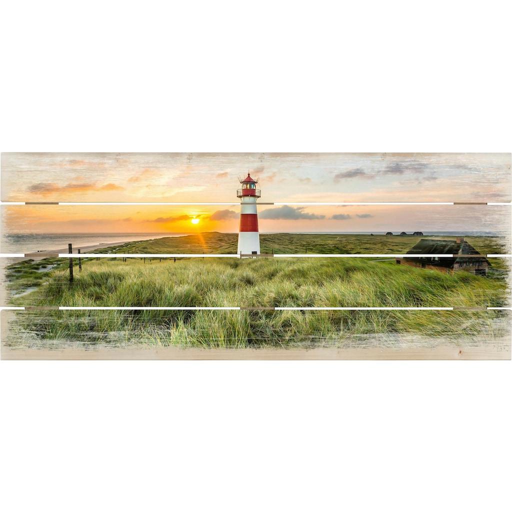 Wall-Art Holzbild »Leuchtturm auf Sylt«
