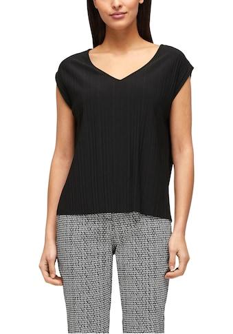 s.Oliver BLACK LABEL Kurzarmshirt, mit V-Auschnitt und Plissee kaufen