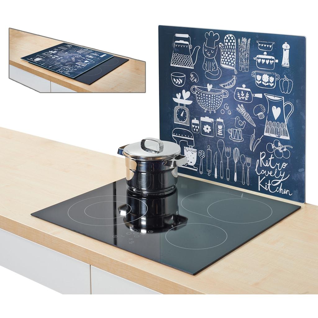Zeller Present Herdblende-/Abdeckplatte »Lovely Kitchen«, (1 tlg.), Silikonfüßen
