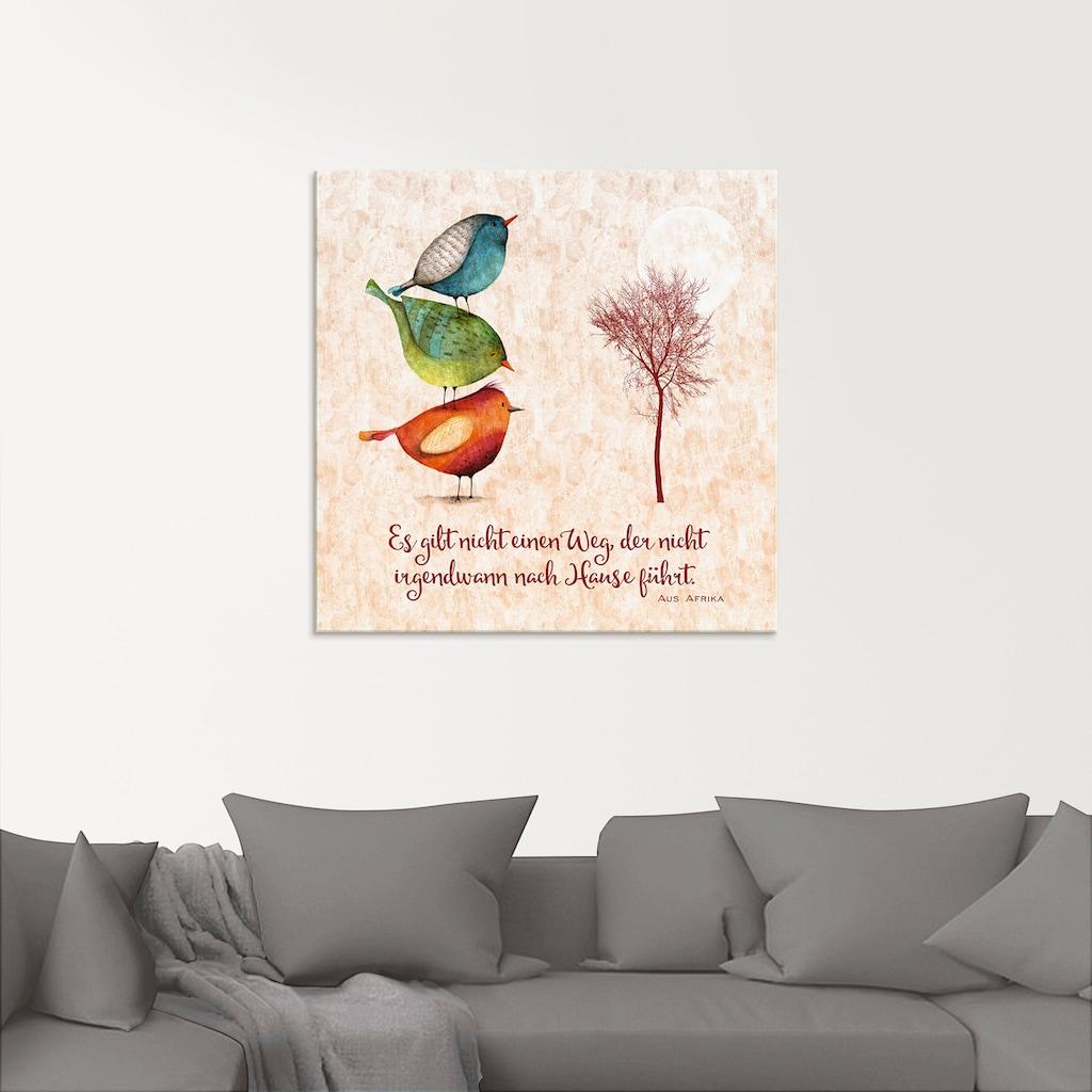 Artland Glasbild »Lebensweisheit Zu Hause«, Tiere, (1 St.)