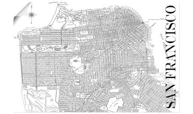 Artland Wandbild »San Francisco Karte Straßen Karte«, Amerika, (1 St.), in vielen Größen & Produktarten - Alubild / Outdoorbild für den Außenbereich, Leinwandbild, Poster, Wandaufkleber / Wandtattoo auch für Badezimmer geeignet kaufen