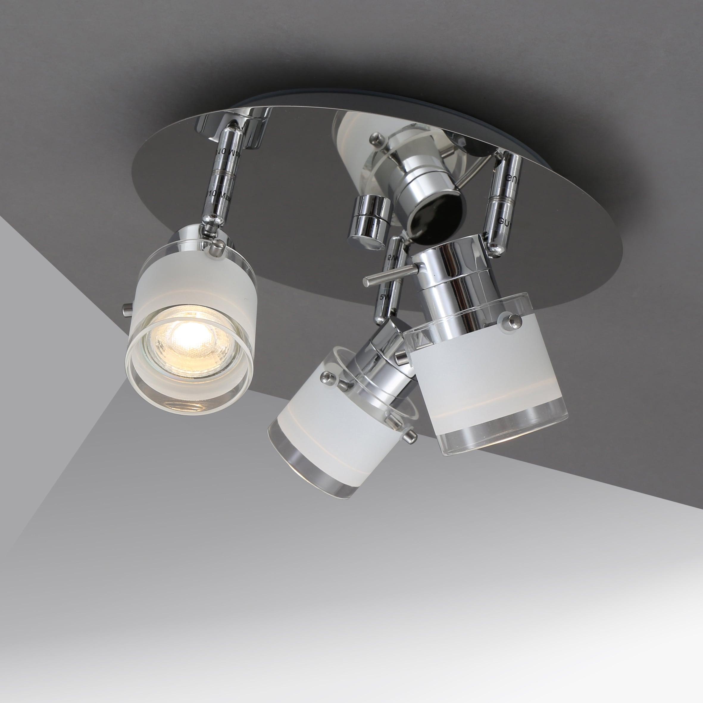 B.K.Licht LED Deckenleuchte, GU10, Warmweiß, LED Bad Deckenlampe Design Deckenstrahler schwenkbar GU10 IP44 Badezimmer