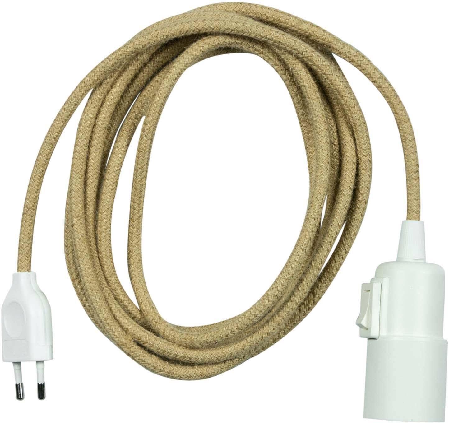 SEGULA,Pendelleuchte Pendelleuchte Weiß - schalter Kunststoff - 3m Jute Kabel