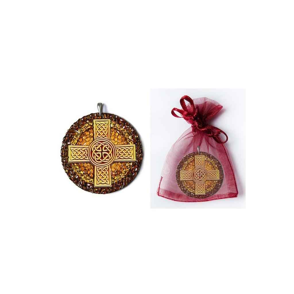 Adelia´s Amulett »925 Silber Bernstein Talisman«, Keltisches Kreuz - Einheit mit dem Universum