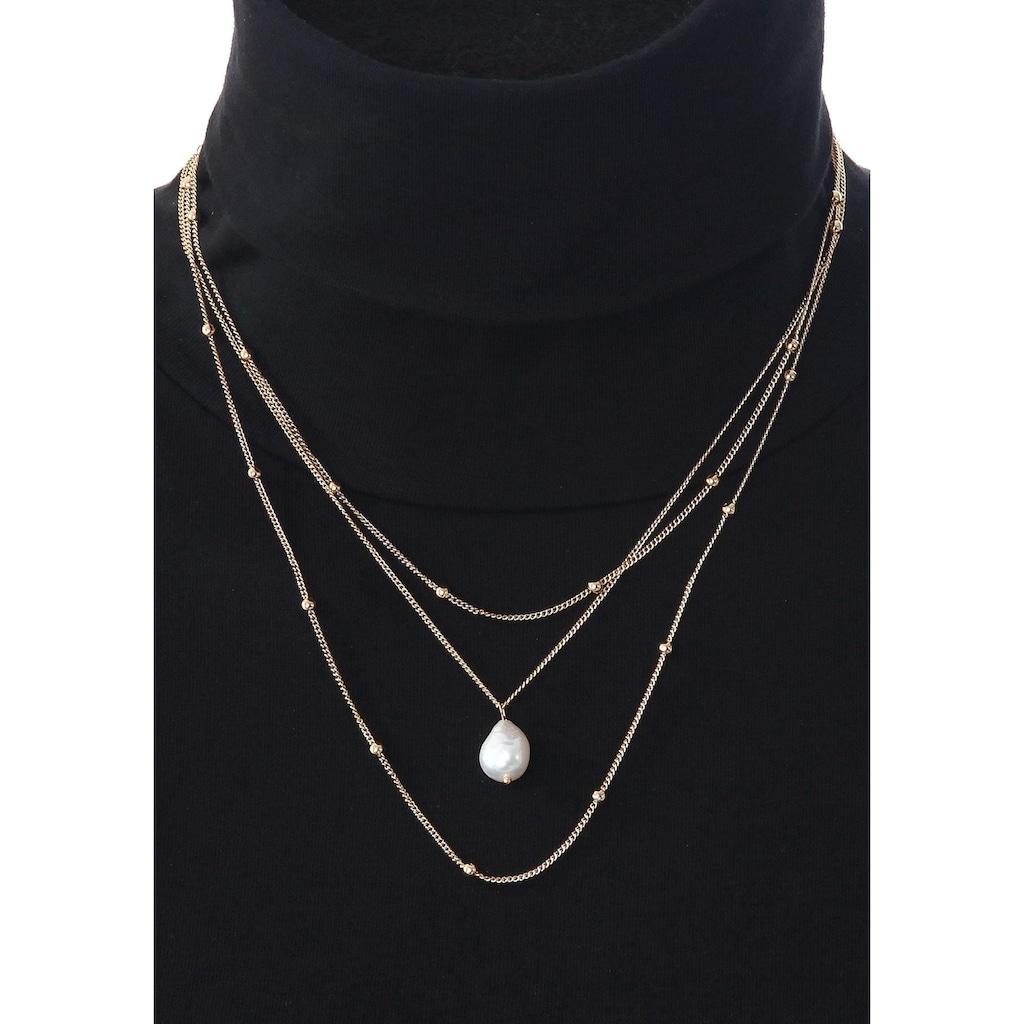 J.Jayz Collier-Set »im schlichten Design mit Metallkugeln und Perle, mehrreihig, einzeln tragbar«, (Set, 2 tlg.), mit Süßwasserzuchtperle