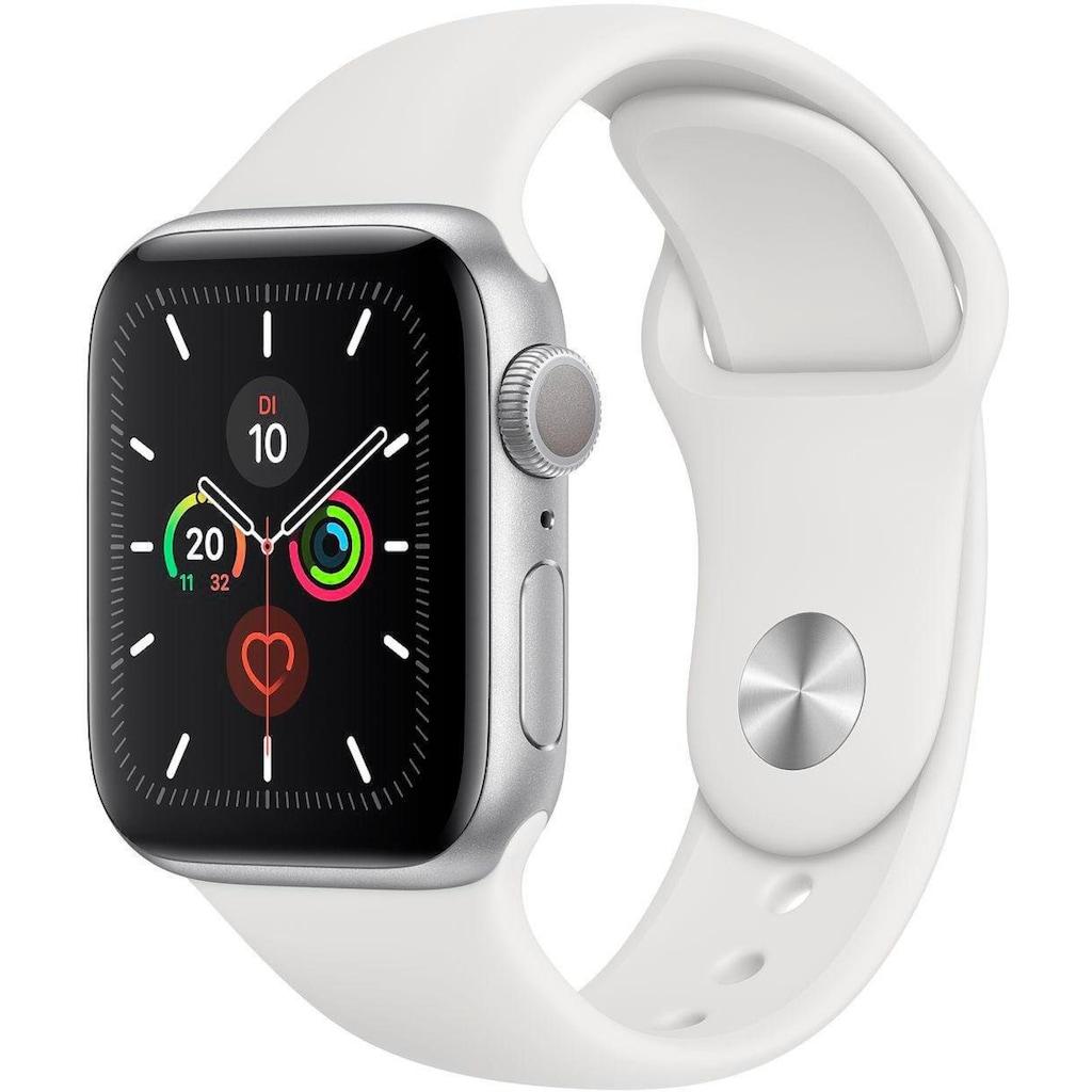Apple Watch »Series 5 GPS, Aluminiumgehäuse mit Sportarmband 40mm« (, Watch OS 6, inkl. Ladestation (magnetisches Ladekabel)