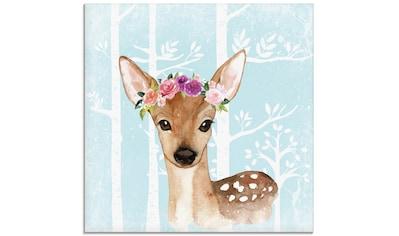 Artland Glasbild »Wild Reh mit Blumen im blauen Wald«, Tiere, (1 St.) kaufen