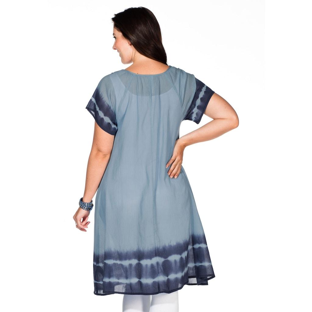 Sheego Strandkleid, Batik-Effekt an Ärmeln und Saum