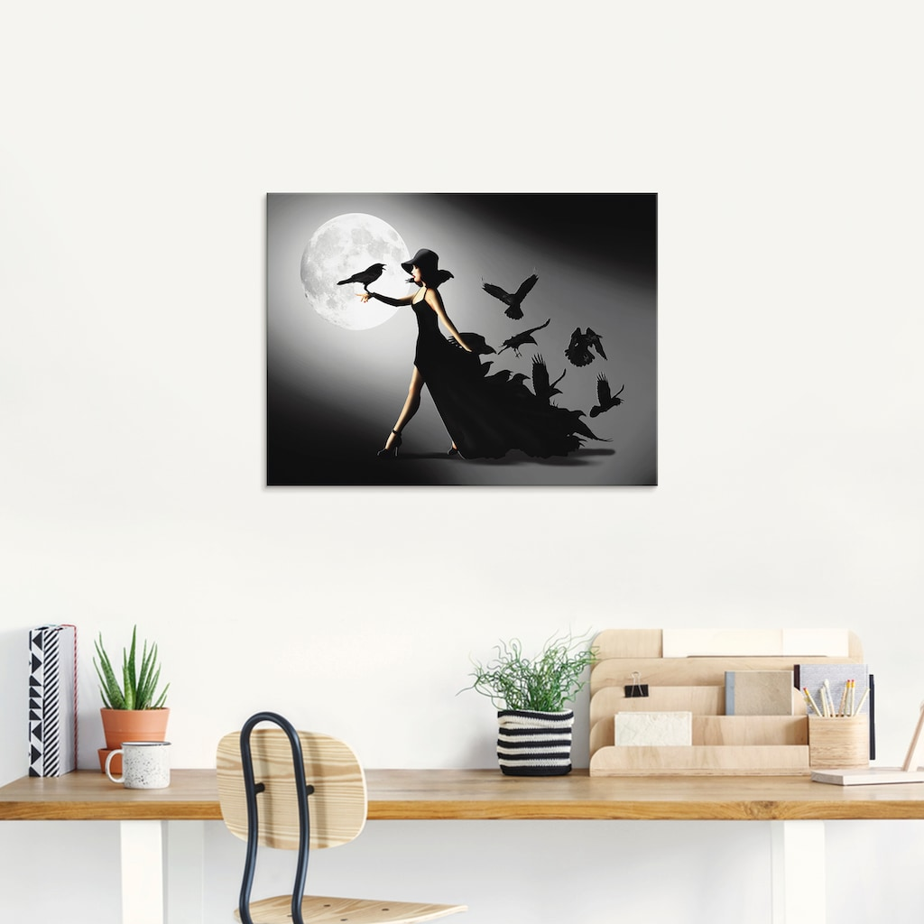 Artland Glasbild »Die Frau mit den Raben«, Animal Fantasy, (1 St.)