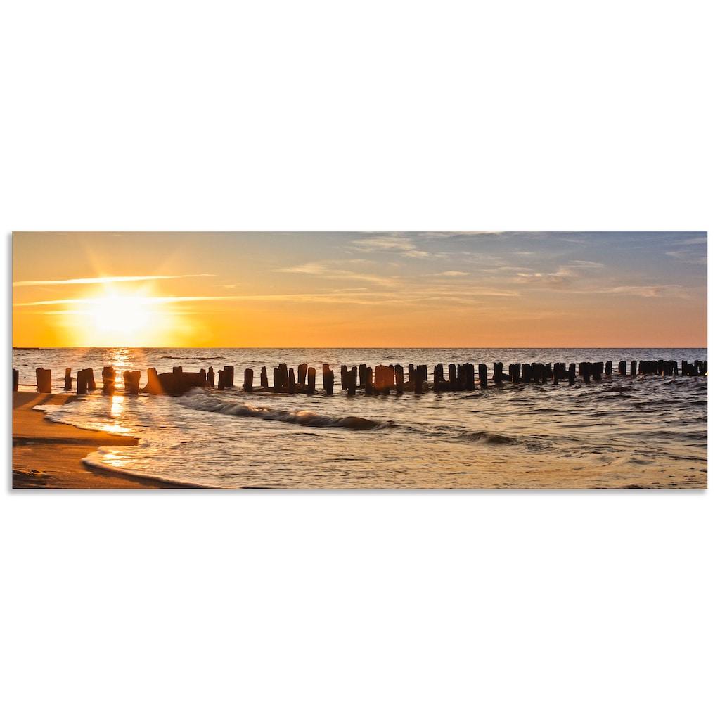Artland Küchenrückwand »Schöner Sonnenuntergang am Strand«, selbstklebend in vielen Größen - Spritzschutz Küche hinter Herd u. Spüle als Wandschutz vor Fett, Wasser u. Schmutz - Rückwand, Wandverkleidung aus Alu