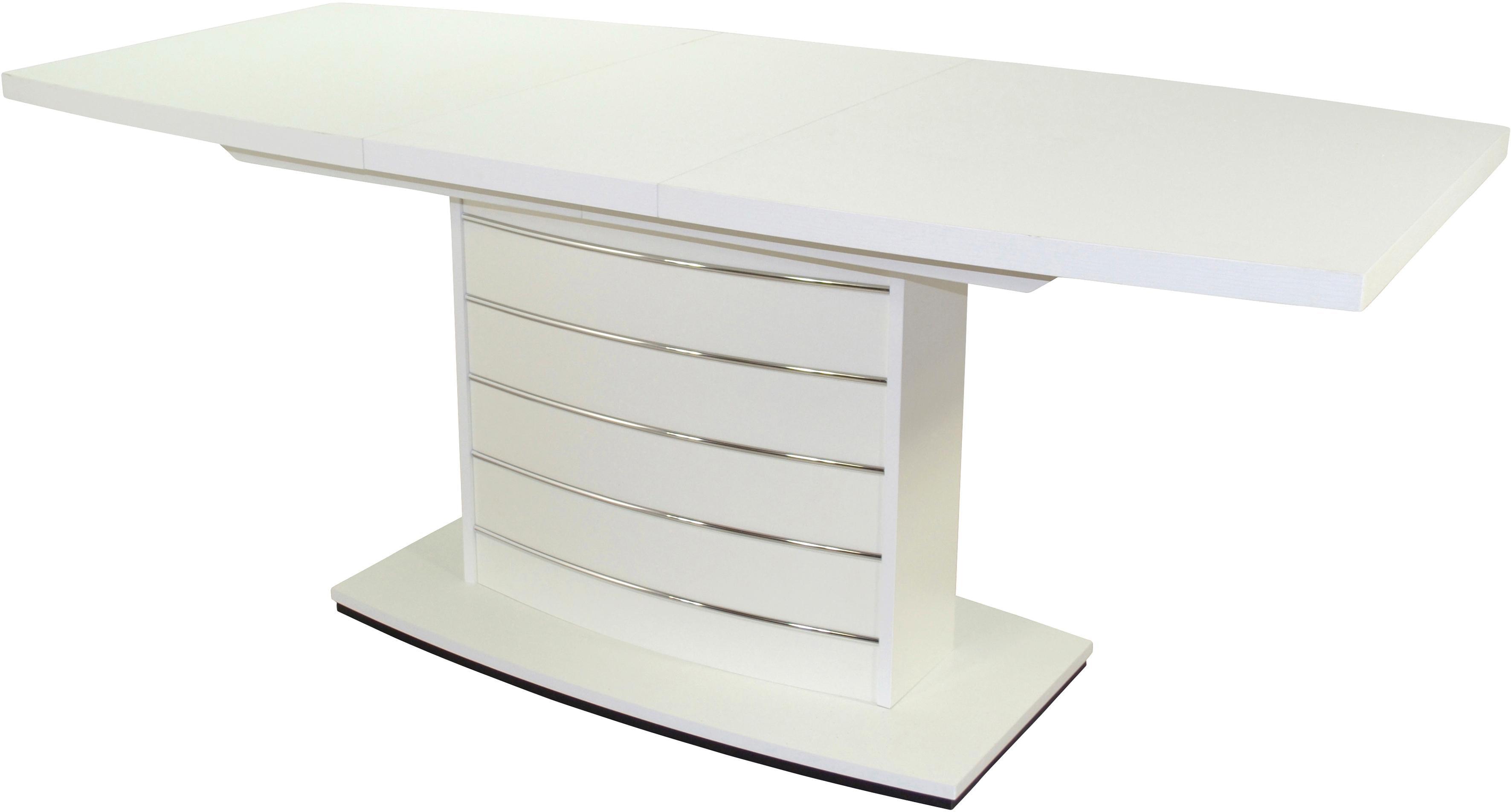 Säulen-Esstisch Malibu, Breite 140 cm weiß Ausziehbare Esstische Tische