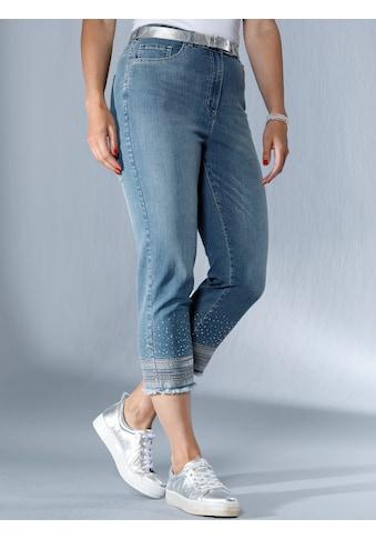 MIAMODA Jeans am Saum mit Stickereien, Pailletten und Fransen kaufen