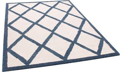 THEKO Wollteppich »Royal Design«, rechteckig, 14 mm Höhe, reine Wolle, Rauten Design,... kaufen