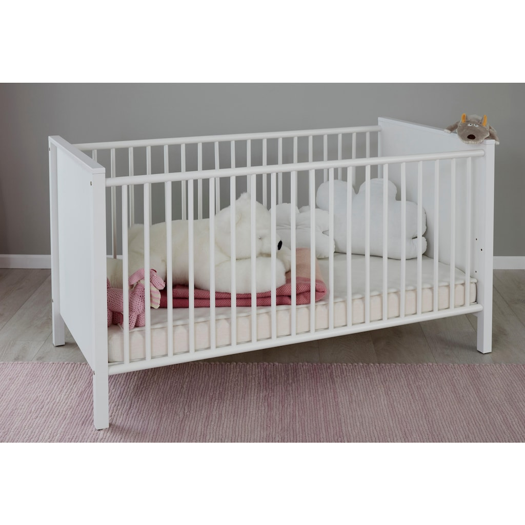 Babyzimmer-Komplettset »Westerland«, (Set, 4 St.), Bett + Wickelkommode + 3 trg. Schrank + Wandbord