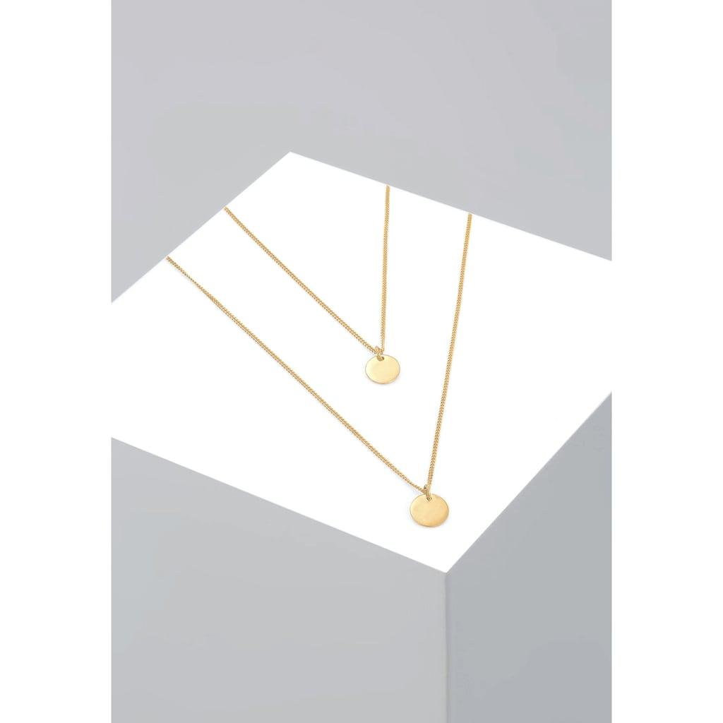 Elli Collierkettchen »Layer Kette mit Kreis Plättchen 925 Silber«