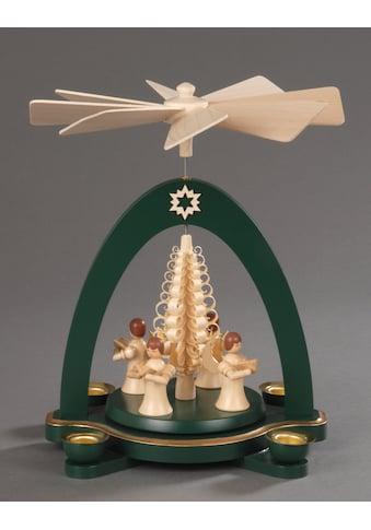 Albin Preissler Weihnachtspyramide »4 stehende Engel mit Spanbaum«, Handwerkskunst aus... kaufen