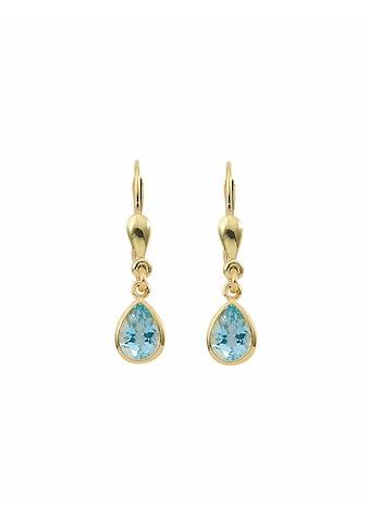 Adelia´s Paar Ohrhänger »585 Gold Ohrringe / Ohrhänger mit Aquamarin«, Goldschmuck für Damen kaufen