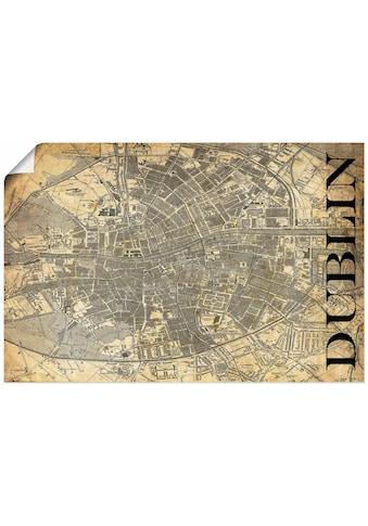 Artland Wandbild »Dublin Karte Straßen Karte Sepia«, Europa, (1 St.), in vielen Größen... kaufen