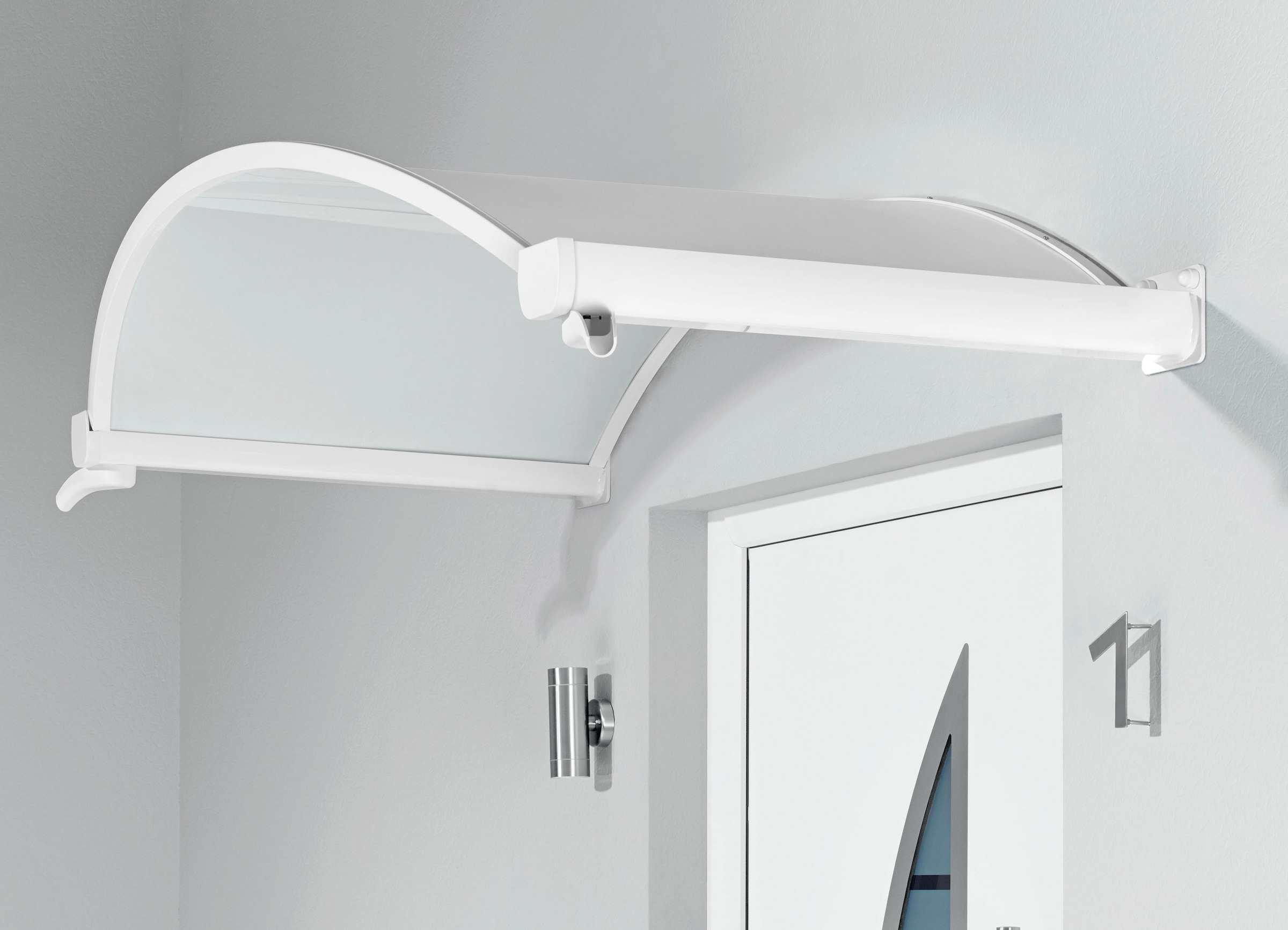 BxTxH weiß Vordach 200 x 90 x 30 cm Gutta Ovalbogenvordach OV//B 200