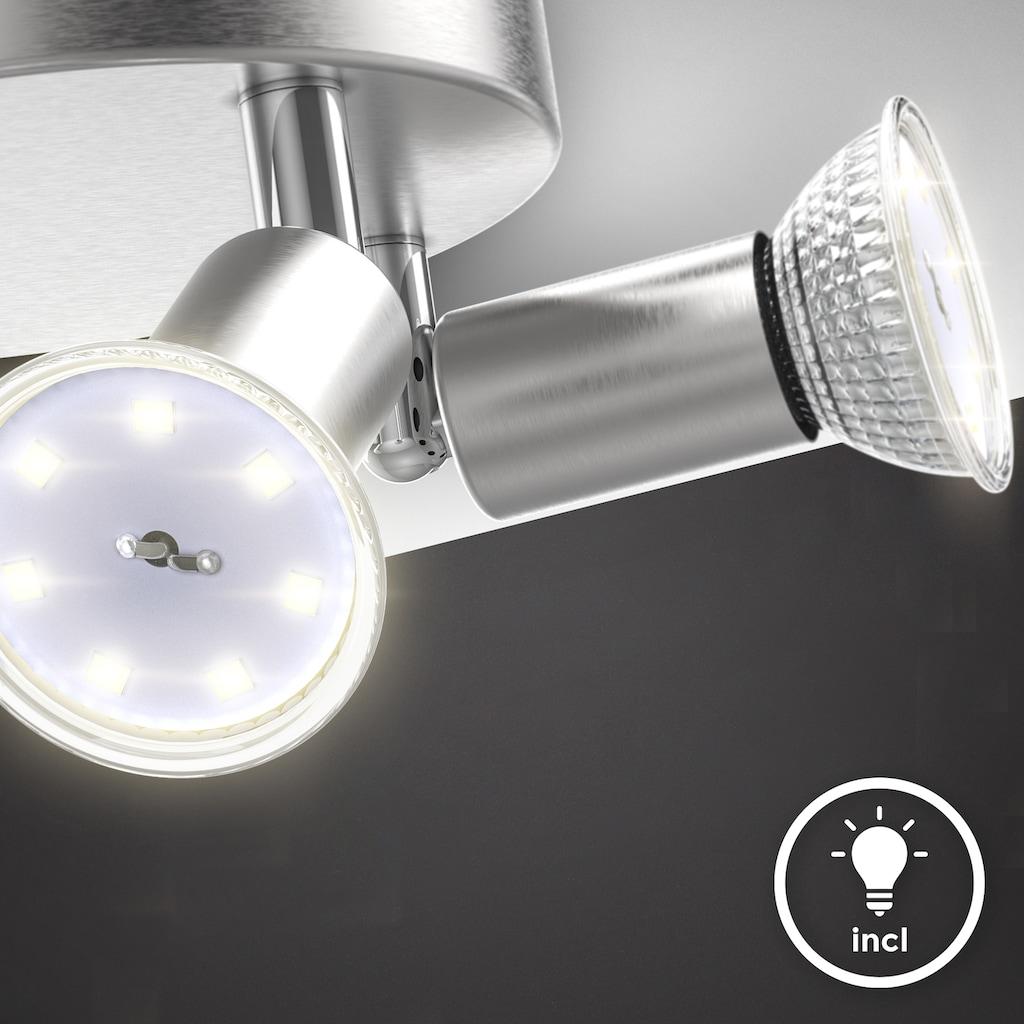 B.K.Licht Deckenspots, GU10, 1 St., Warmweiß, schwenkbare LED Deckenleuchte, inkl. 4x 3W GU10 Leuchtmittel, 4x 250lm, warmweiße Lichtfarbe, LED Deckenlamp, 18cm rund