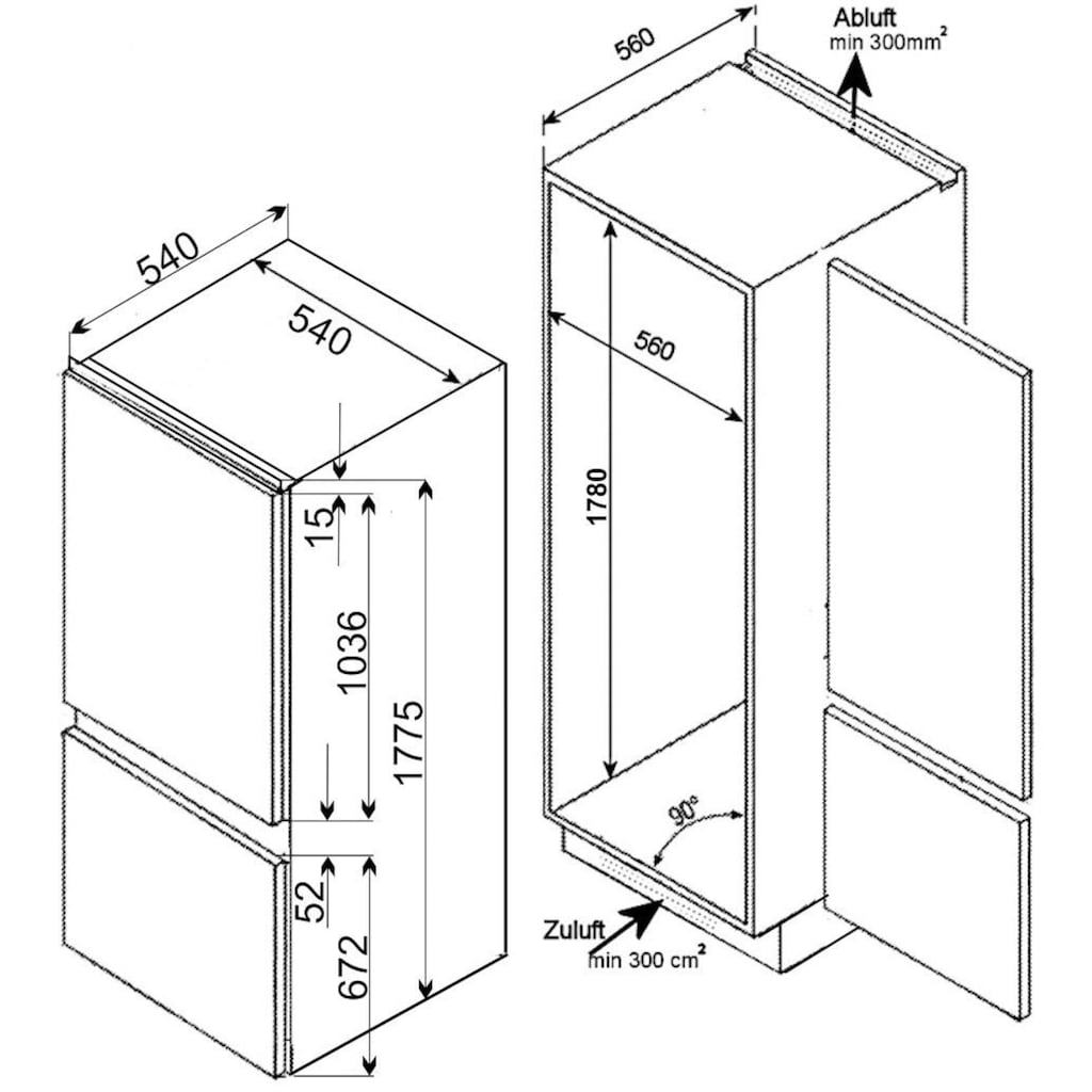 vonReiter Einbaukühlgefrierkombination »VREKGC 17811 A++«, VREKGC 17811 A++, 177,5 cm hoch, 54 cm breit