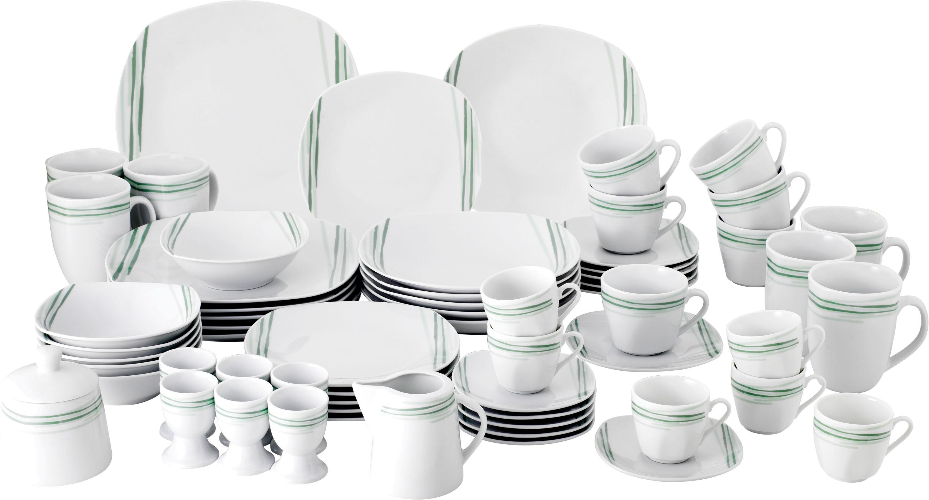 van Well Geschirr-Set Soraya, (Set, 62 tlg.), Eckige Form weiß Geschirr-Sets Geschirr, Porzellan Tischaccessoires Haushaltswaren