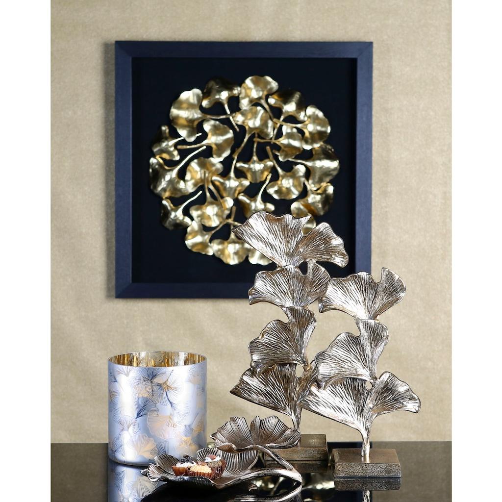 GILDE Dekoobjekt »Skulptur Ginkgo, goldfarben«, aus Metall, in 2 Größen erhältlich, Wohnzimmer