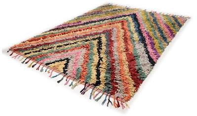 TOM TAILOR Teppich »Vivid Stripes«, rechteckig, 5 mm Höhe, Boho-Style, handgewebt, mit... kaufen