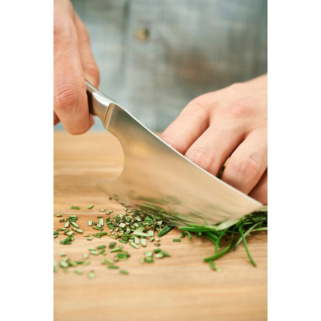 RÖSLE Kräutermesser, (1 tlg.), Küchenmesser zum Schneiden von Kräutern, Walnussholz-Griff, Klingenspezialstahl