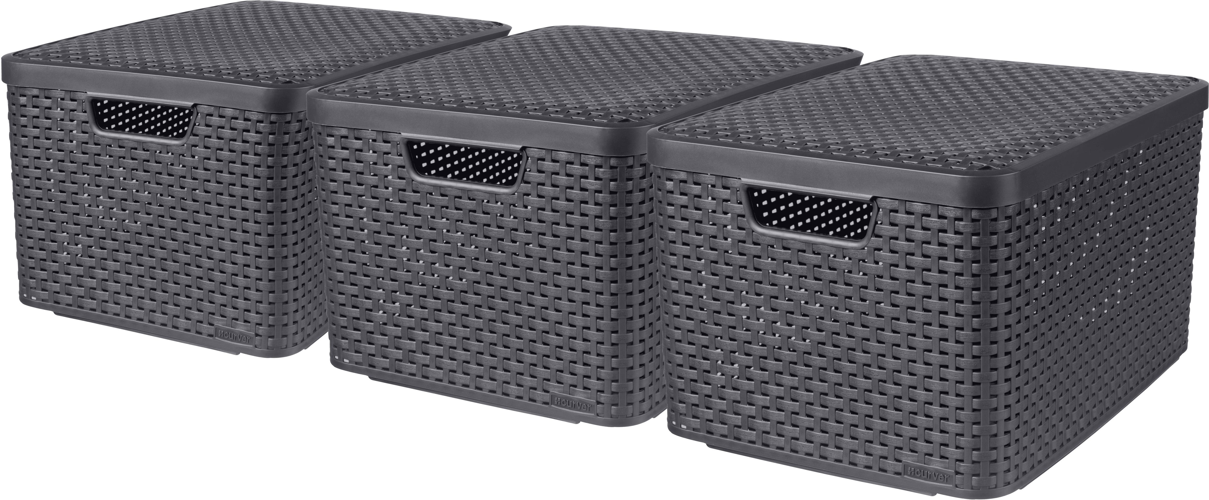 Curver Aufbewahrungsbox Style L, (Set, 3 St.), mit Deckel anthrazit. x 30 Liter grau Kleideraufbewahrung Aufbewahrung Ordnung Wohnaccessoires