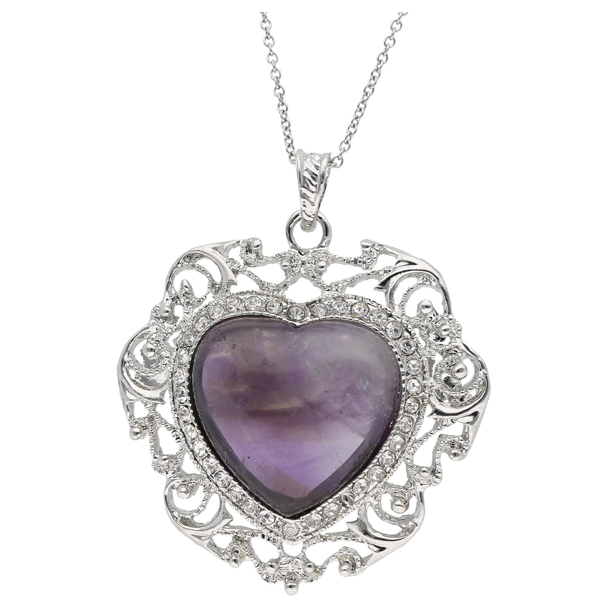 Jacques Charrel Kette mit Anhänger Herz Amethyst und Kristallsteinen, Messing lila Damen Ketten Halsketten Schmuck