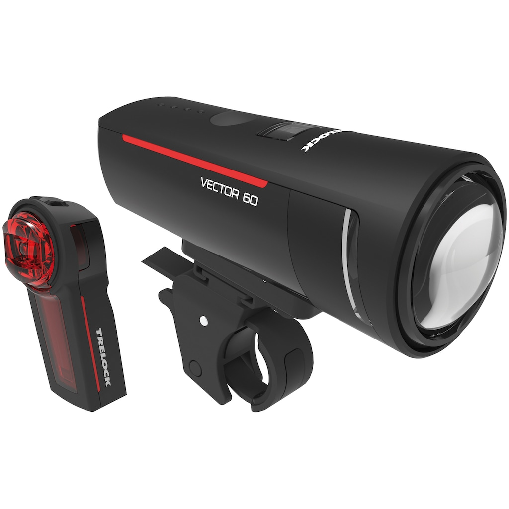 Trelock Fahrradbeleuchtung »LS 600 I-GO VECTOR 60/LS 740 VECTOR REAR SET«, (Front- und Rücklicht)