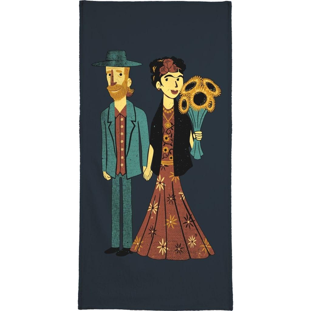 Juniqe Handtuch »Love Is Art Frida Kahlo and Van Gogh«, (1 St.), Weiche Frottee-Veloursqualität